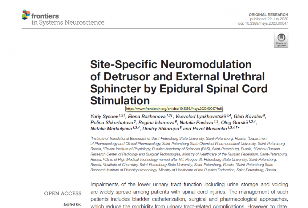 Site-Specific Neuromodulation of Detrusor and External Urethral Sphincter by Epidural Spinal Cord Stimulation